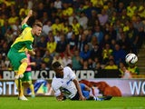 Anthony Pilkington of Norwich City scores his goal during the Capital One Cup second round match between Norwich City and Bury at Carrow Road on August 27, 2013