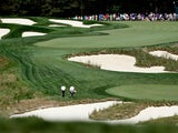 The fourth hole during the final round of The Barclays at the Black Course at Bethpage State Park August 26, 2012
