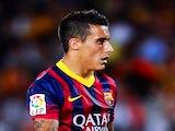 Barcelona forward Cristian Tello in action against Sevilla on September 14, 2013