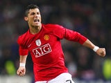 Cristiano Ronaldo of Manchester United celebrates victory after the UEFA Champions League Quarter Final second leg match between FC Porto and Manchester United at the Estadio do Dragao on April 15, 2009