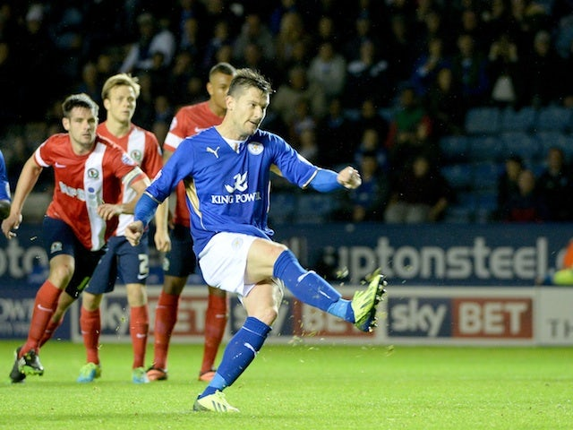 Leicester's David Nugent scores a penalty against Blackburn on September 17, 2013