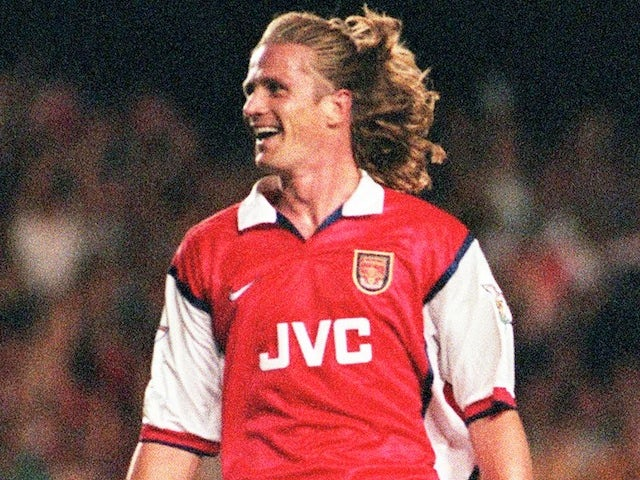 Arsenal midfielder Emmanuel Petit celebrates a goal against Nottingham Forest on August 17, 1998