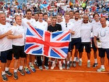Great Britain's Davis Cup team celebrate during day three of the Davis Cup World Group play-off tie between Croatia and Great Britain at Stadion Stella Maris on September 15, 2013