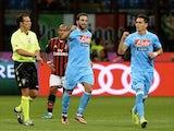 Napoli striker Gonzalo Higuain celebrates a goal against Milan on September 22, 2013