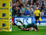Leicester Tigers' Graham Kitchener scores a try against Newcastle Falcons during their Aviva Premiership match on September 21, 2013