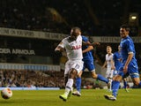 Tottenham's Jermain Defoe scores his team's second goal against Tromso IL during their Europa League group match on September 19, 2013
