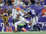 Cleveland's Jordan Cameron scores a touchdown against Minnesota on September 22, 2013