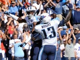 Titans' Justin Hunter celebrates a touchdown against San Diego on September 22, 2013