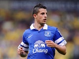 Kevin Mirallas of Everton during the Barclays Premier League match between Norwich City and Everton at Carrow Road on August 17, 2013