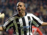 Newcastle's Kieron Dyer celebrates a goal against Olympiaxos on March 16, 2005