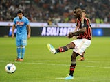 Milan striker Mario Balotelli misses a penalty against Napoli on September 22, 2013
