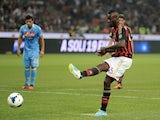Milan striker Mario Balotelli misses a penalty against Napoli on September 22, 2013