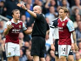 West Ham's Mark Noble is sent off during the game against Everton on September 21, 2013