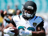 Maurice Jones-Drew #32 of the Jacksonville Jaguars warms before the game against the Kansas City Chiefs at EverBank Field on September 8, 2013