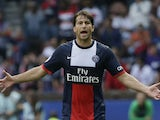 Paris Saint-Germain's Brazilian defender Maxwell reacts during the French L1 football match between Paris Saint-Germain (PSG) and Guingamp (EAG) at the Parc des Princes stadium on August 31, 2013