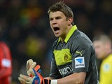 Dortmund's Mitchell Langerak in action against Leverkusen on February 3, 2013