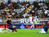 Barca forward Pedro scores against Rayo Vallecano on September 21, 2013