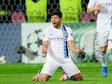 City striker Sergio Aguero celebrates a goal against Viktoria Plzen on September 17, 2013