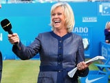 Sue Barker conducts an interview at the AEGON Championships at Queen's Club on June 16, 2013
