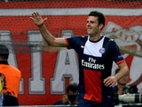 Paris Saint Germain's Thiago Motta celebrates after scoring a goal during the Champions League football match Olympiakos vs Paris Saint-Germain at the Karaiskaki stadium in Athens on September 17, 2013
