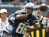 Chargers WR Vincent Brown catches a pass against the Eagles on September 15, 2013