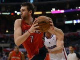 Andrea Bargnani #7 of the Toronto Raptors drives to the basket during a 102-83 Los Angeles Clipper win at Staples Center on December 9, 2012