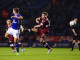 Leicester's Danny Drinkwater scores his team's second goal against Derby during their League Cup match on September 24, 2013