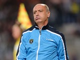 Sochaux's French head coach Eric Hely reacts during a French L1 football match between Guingamp and Sochaux on September 25, 2013
