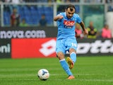 Goran Pandev of SSC Napoli scores the opening goal during the Serie A match between Genoa CFC and SSC Napoli at Stadio Luigi Ferraris on September 28, 2013