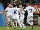 Fiorentina striker Giuseppe Rossi celebrates opening the scoring against Inter Milan on September 26, 2013