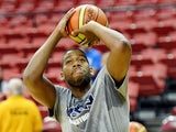 Greg Monroe #62 of the 2013 USA Basketball Men's National Team warms up before a USA Basketball showcase at the Thomas & Mack Center on July 25, 2013