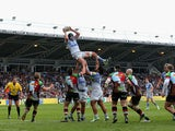 Steve Borthwick of Saracens catches in the line out during the Aviva Premiership match between Harlequins and Saracens at Twickenham Stoop on September 28, 2013