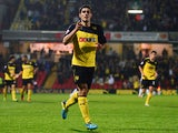 Watford's Marco Faraoni celebrates after scoring his team's second goal against Norwich during their League Cup match on September 24, 2013