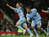 Michael Mifsud of Coventry City celebrates scoring his second goal during the Carling Cup third round match between Manchester United and Coventry City at Old Trafford on September 26, 2007