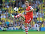 Southampton's English striker Rickie Lambert passes the ball during the English Premier League football match between Norwich City and Southampton at Carrow Road in Norwich, eastern England on August 31, 2013
