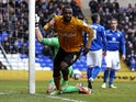 Sylvan Ebanks-Blake of Wolves celebrates after scoring his teams second goal of the game during the npower Championship match between Birmingham City and Wolverhampton Wanderers at St Andrews on April 01, 2013
