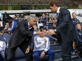 Tottenham Hotspur's Portuguese manager Andre Villas-Boas shakes hands with Chelsea's Portuguese manager Jose Mourinho before kick off of the English Premier League football match between Tottenham Hotspur and Chelsea at White Hart Lane in London on Septem