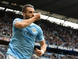 City forward Alvaro Negredo celebrates his equaliser against Everton on October 5, 2013