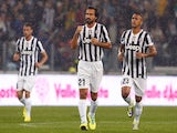 Andrea Pirlo of Juventus FC celebrates his goal with Arturo Vidal during the Serie A match between Juventus and AC Milan at Juventus Arena on October 6, 2013