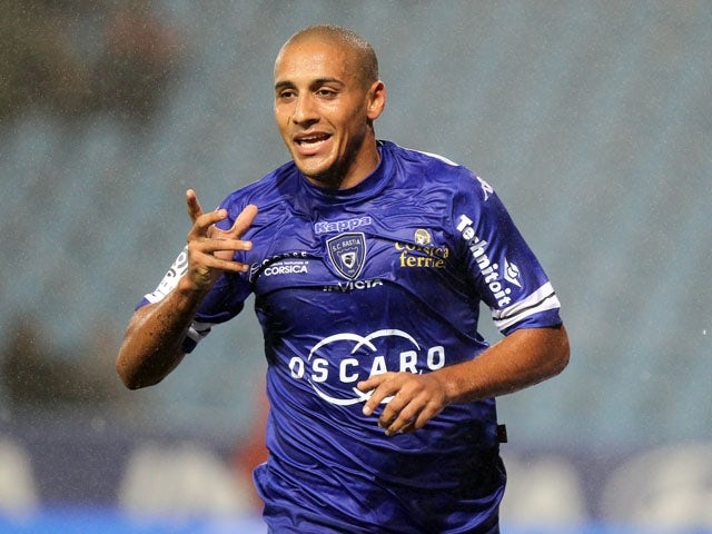 Bastia's Tunisian midfielder Wahbi Khazri celebrates after scoring a goal during the French L1 football match Bastia vs Lorient on October 4, 2013