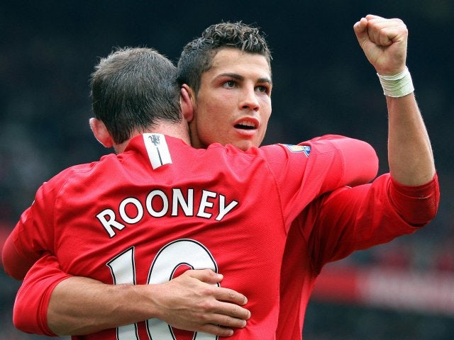 Wayne Rooney and Cristiano Ronaldo celebrate the latter's goal in October 2007.