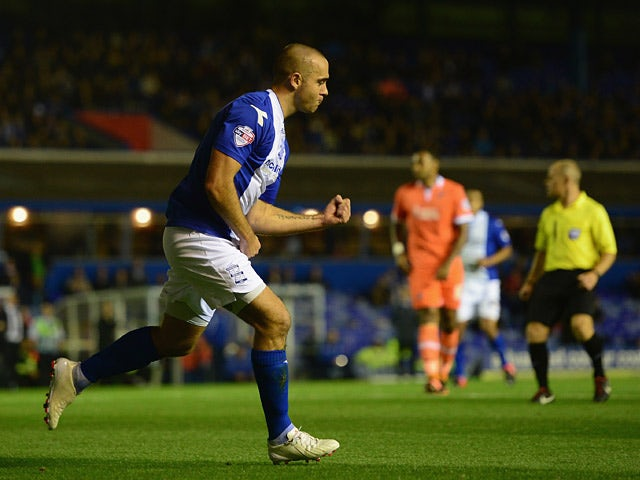 Birmingham's David Murphy celebrates after scoring the opening goal against Millwall during their Championship match on October 1, 2013