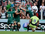 Leicester Tigers' Ed Slater celebrates a try in the Aviva Premiership match with Northampton Saints on October 5, 2013
