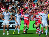 Gloucester fullback Martyn Thomas celebrates his try during the Aviva Premiership match between Gloucester and Exeter Chiefs at Kingsholm Stadium on October 6, 2013