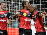 Guingamp's French defender Jeremy Sorbon celebrates after scoring a goal during the French L1 football match Guingamp vs Rennes on October 5, 2013