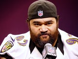 Baltimore's Haloti Ngata talks to the press on Super Bowl Media Day on January 29, 2013