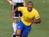 Brazil forward Julio Baptista celebrates his goal during their Copa America Venezuela-2007 final match against Argentina on July 15, 2007