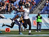 Wide receiver Justin Blackmon #14 of the Jacksonville Jaguars scores a touchdown against the Tennessee Titans December 30, 2012
