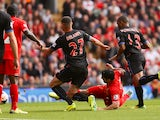 Liverpool striker Luis Suarez opens the scoring against Crystal Palace during the Barclays Premier League match on October 5, 2013