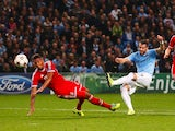 Alvaro Negredo of Manchester City scores his team's goal during the UEFA Champions League Group D match between Manchester City and FC Bayern Muenchen at Etihad Stadium on October 2, 2013
